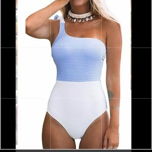 CUPSHE One Shoulder Color Block Swimsuit